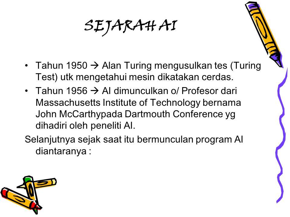 SEJARAH AI Tahun 1950  Alan Turing mengusulkan tes (Turing Test) utk mengetahui mesin dikatakan cerdas.