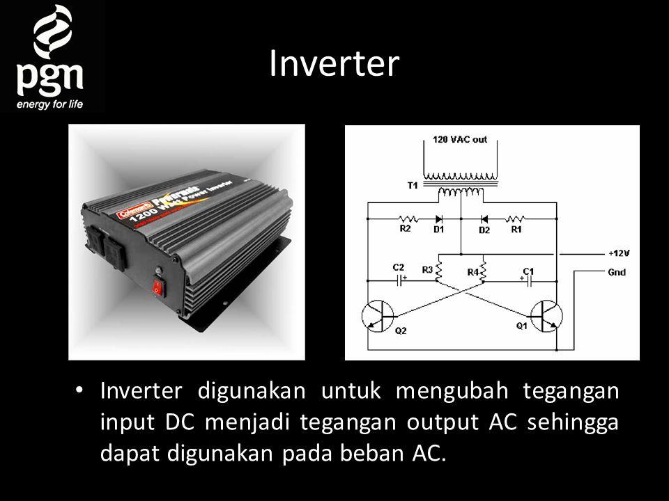 Inverter Inverter digunakan untuk mengubah tegangan input DC menjadi tegangan output AC sehingga dapat digunakan pada beban AC.