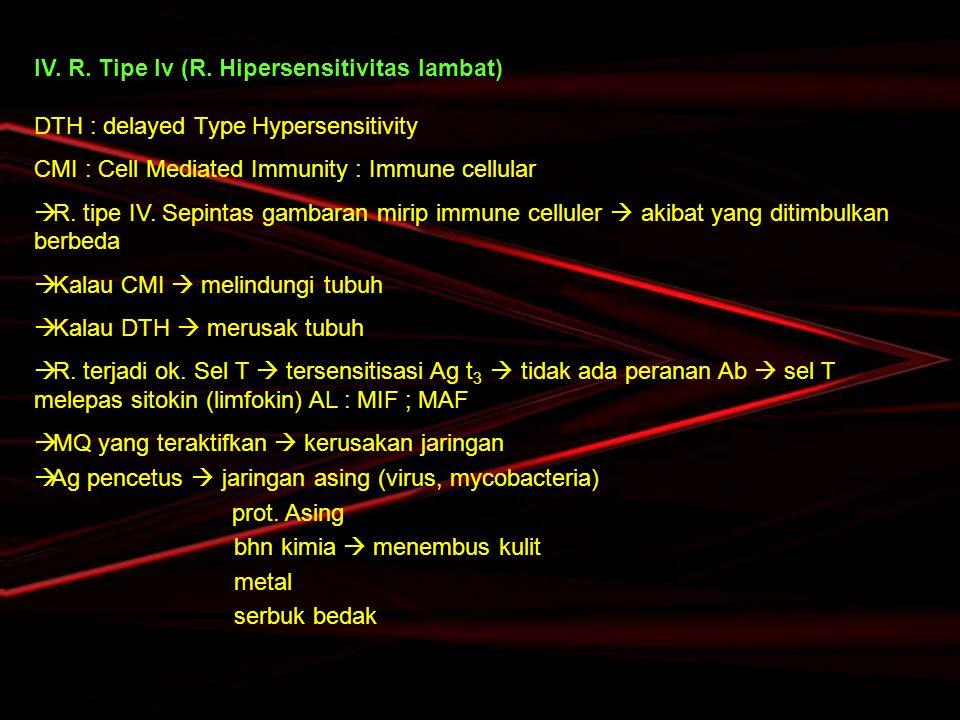IV. R. Tipe Iv (R. Hipersensitivitas lambat)