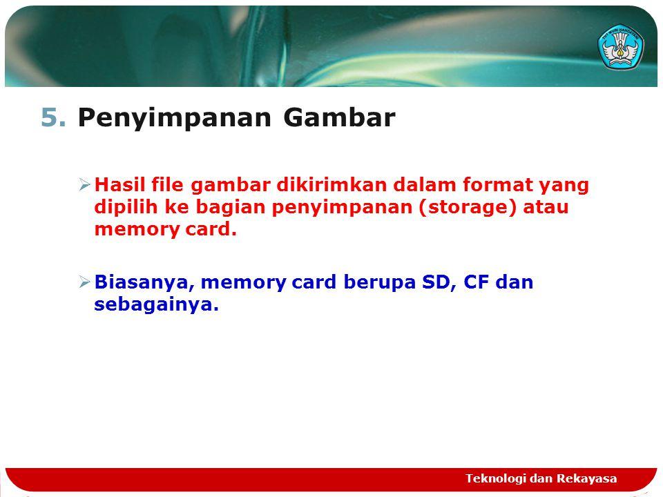 Penyimpanan Gambar Hasil file gambar dikirimkan dalam format yang dipilih ke bagian penyimpanan (storage) atau memory card.