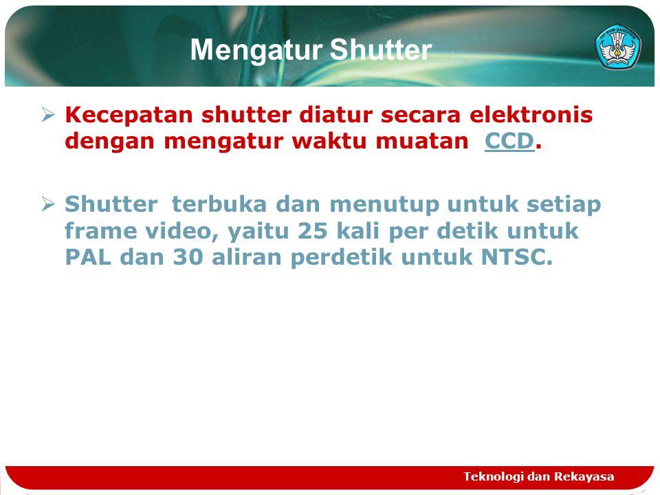 Mengatur Shutter Kecepatan shutter diatur secara elektronis dengan mengatur waktu muatan CCD.