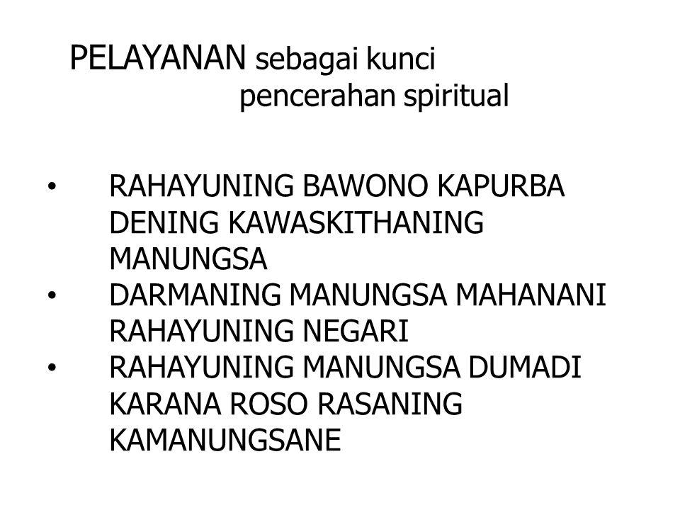 PELAYANAN sebagai kunci pencerahan spiritual