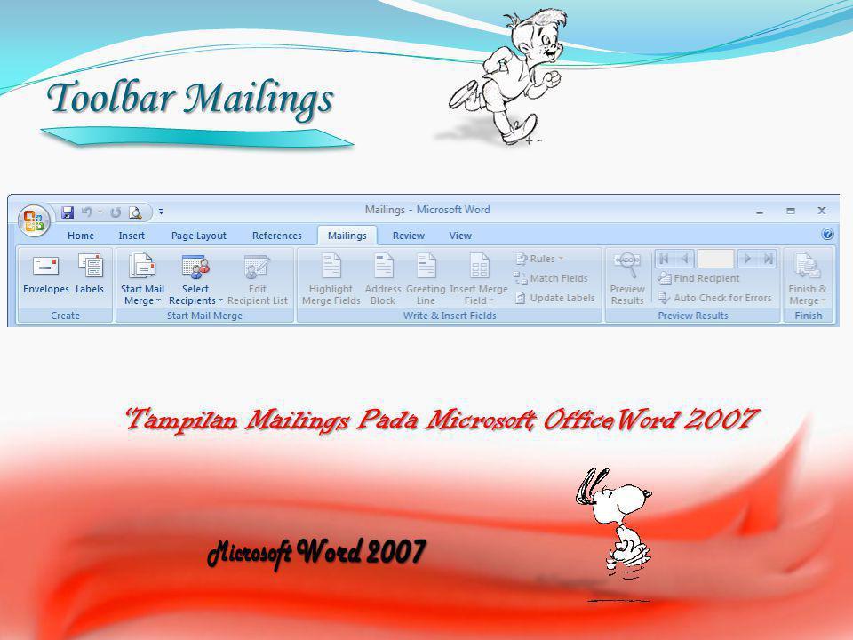 'Tampilan Mailings Pada Microsoft OfficeWord 2007
