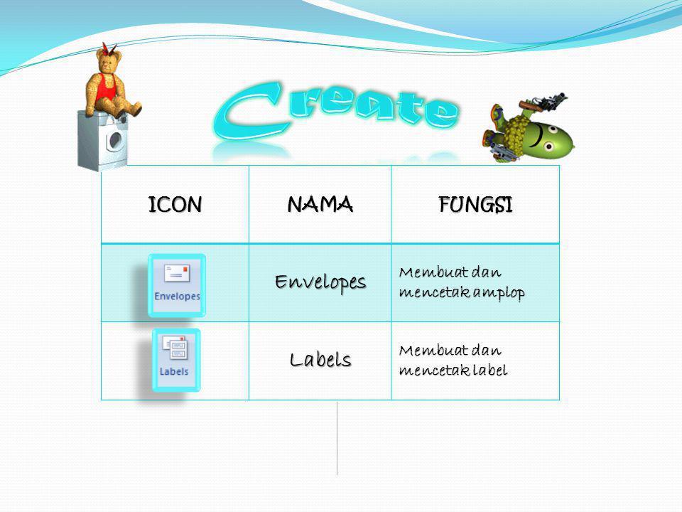 Create Envelopes Labels ICON NAMA FUNGSI Membuat dan mencetak amplop