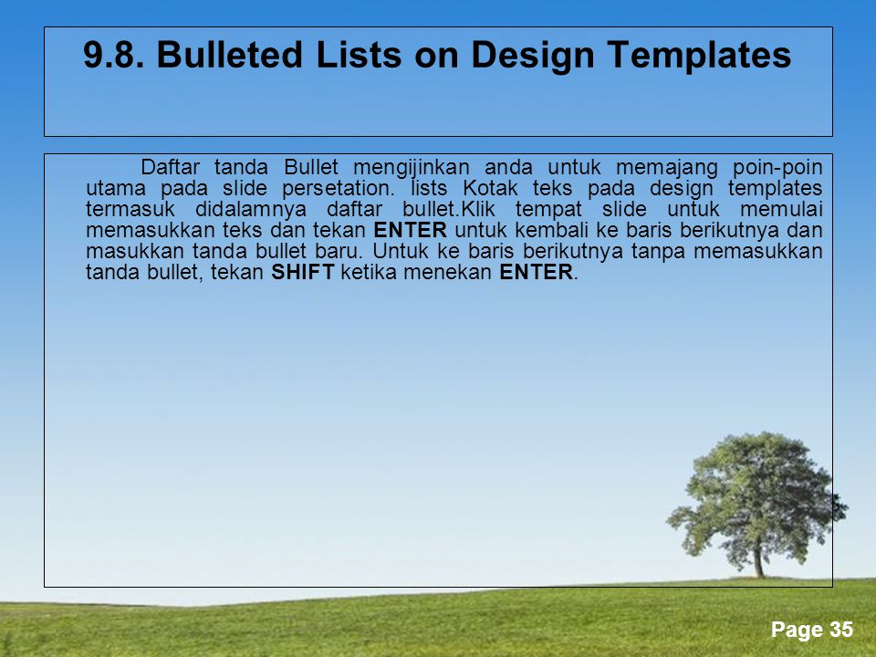 9.8. Bulleted Lists on Design Templates