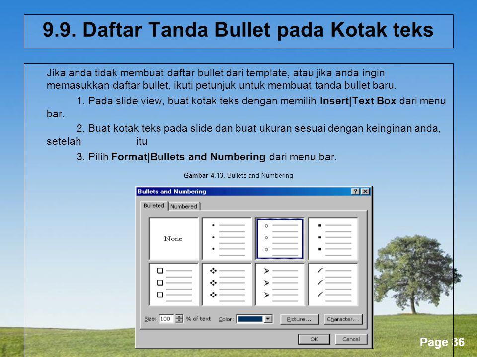 9.9. Daftar Tanda Bullet pada Kotak teks