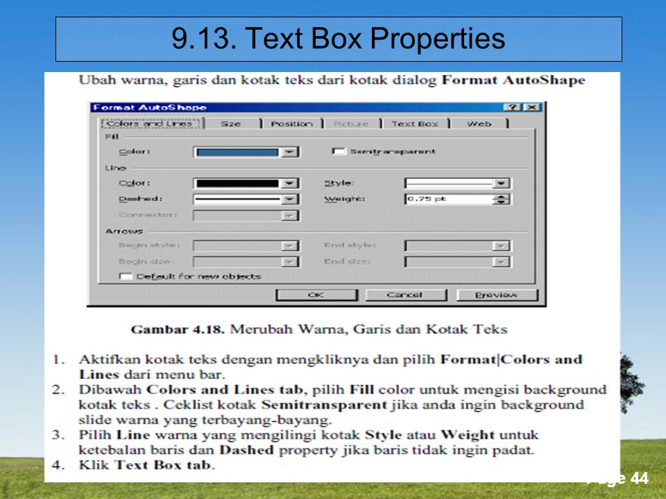 9.13. Text Box Properties