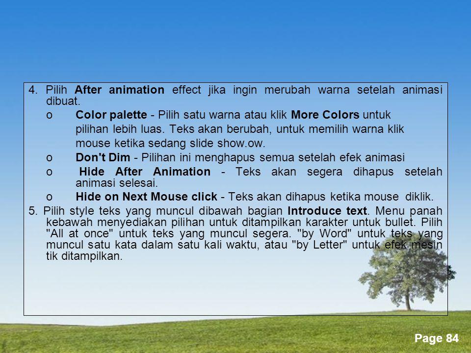 4. Pilih After animation effect jika ingin merubah warna setelah animasi dibuat.