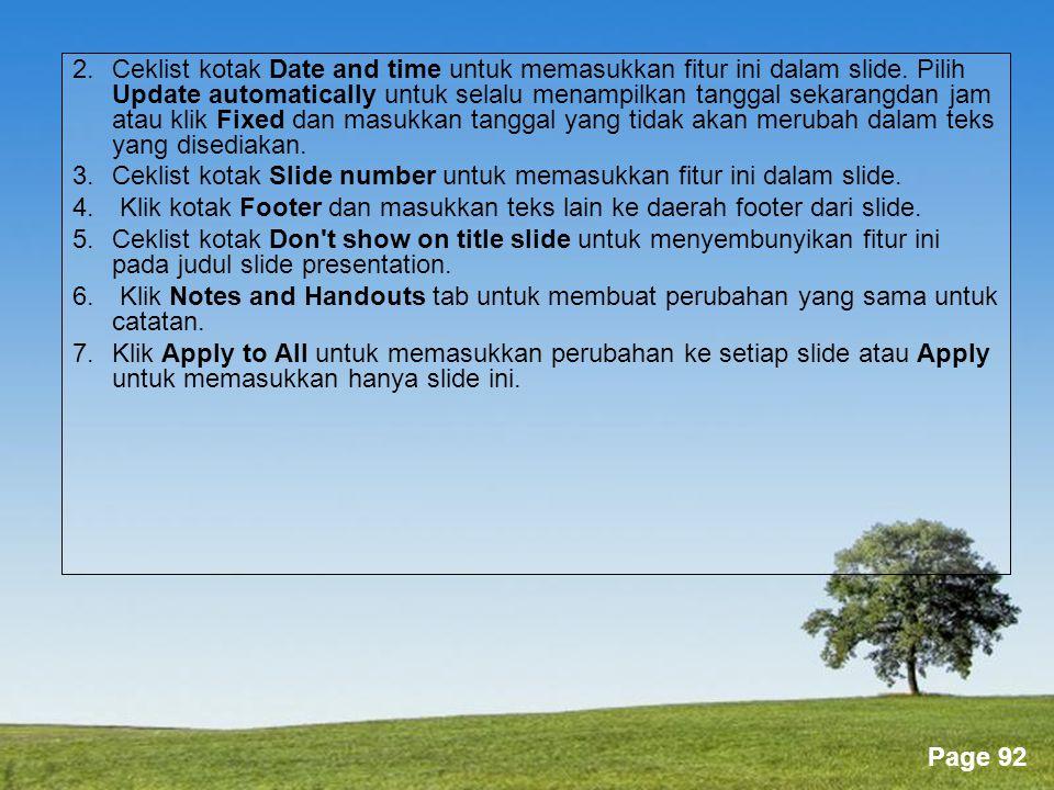 2. Ceklist kotak Date and time untuk memasukkan fitur ini dalam slide