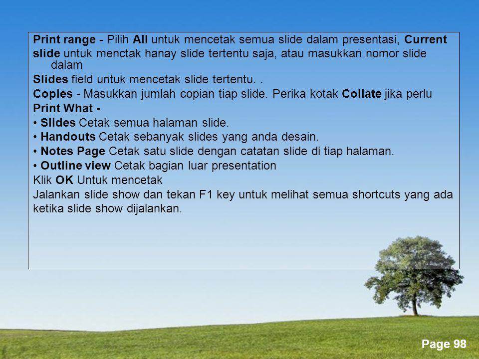 Print range - Pilih All untuk mencetak semua slide dalam presentasi, Current