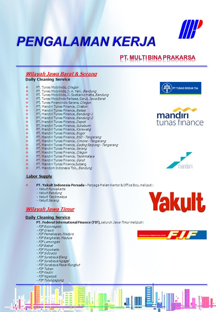 PENGALAMAN KERJA PT. MULTI BINA PRAKARSA Wilayah Jawa Barat & Serang