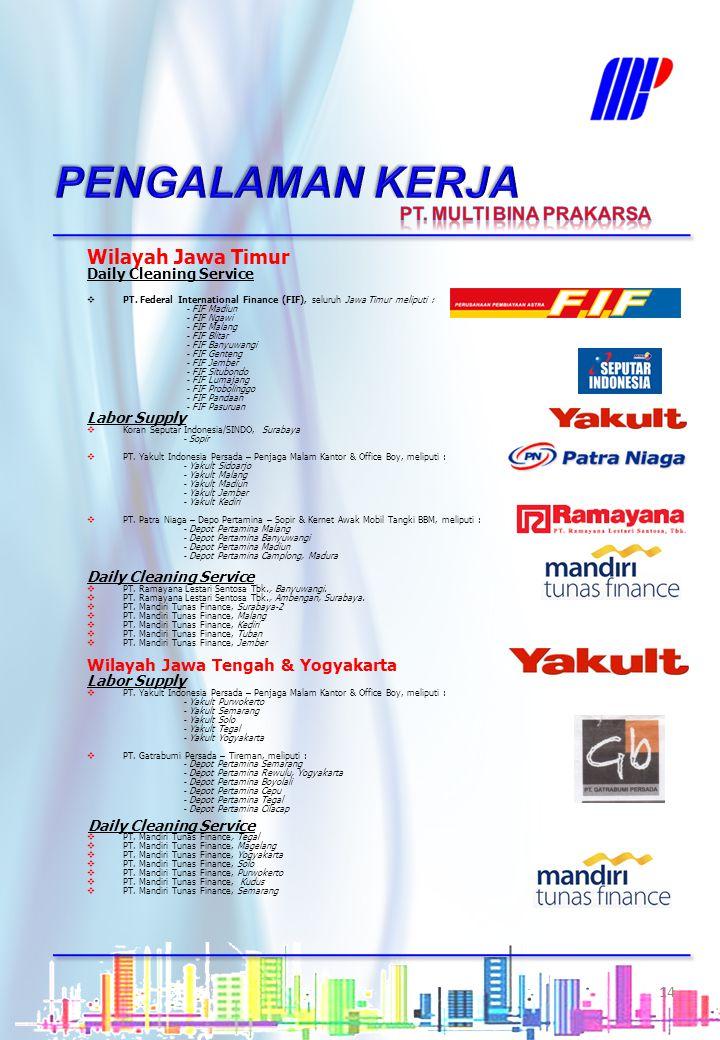 PENGALAMAN KERJA Wilayah Jawa Timur PT. MULTI BINA PRAKARSA