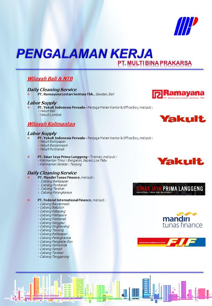 PENGALAMAN KERJA PT. MULTI BINA PRAKARSA Wilayah Bali & NTB