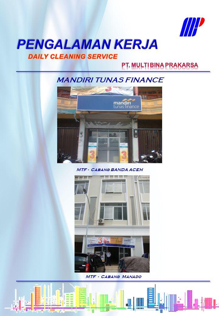 PENGALAMAN KERJA MANDIRI TUNAS FINANCE DAILY CLEANING SERVICE