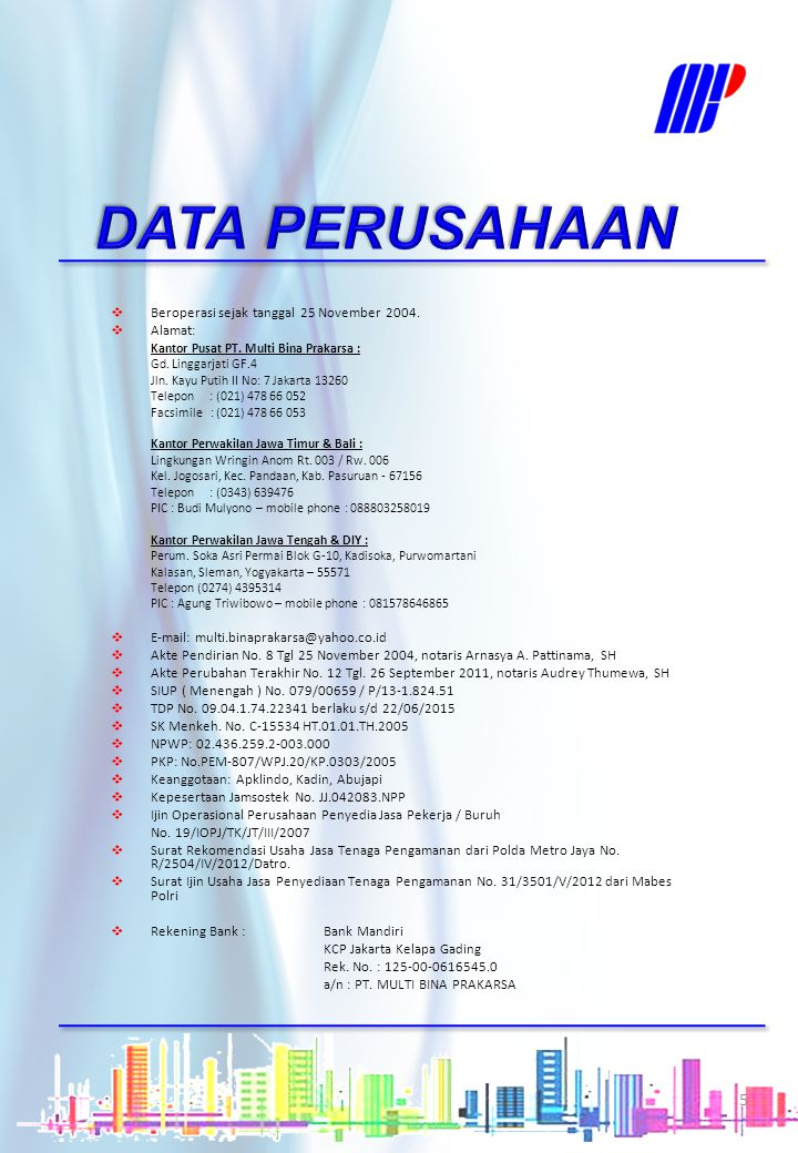 DATA PERUSAHAAN Beroperasi sejak tanggal 25 November 2004. Alamat: