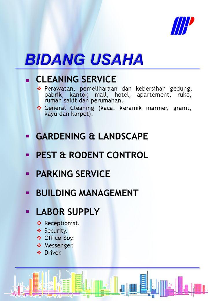 BIDANG USAHA CLEANING SERVICE GARDENING & LANDSCAPE