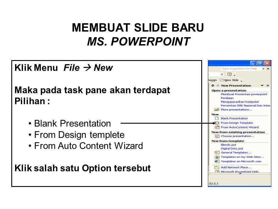 MEMBUAT SLIDE BARU MS. POWERPOINT