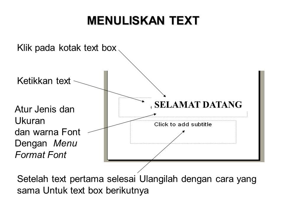 MENULISKAN TEXT Klik pada kotak text box Ketikkan text SELAMAT DATANG