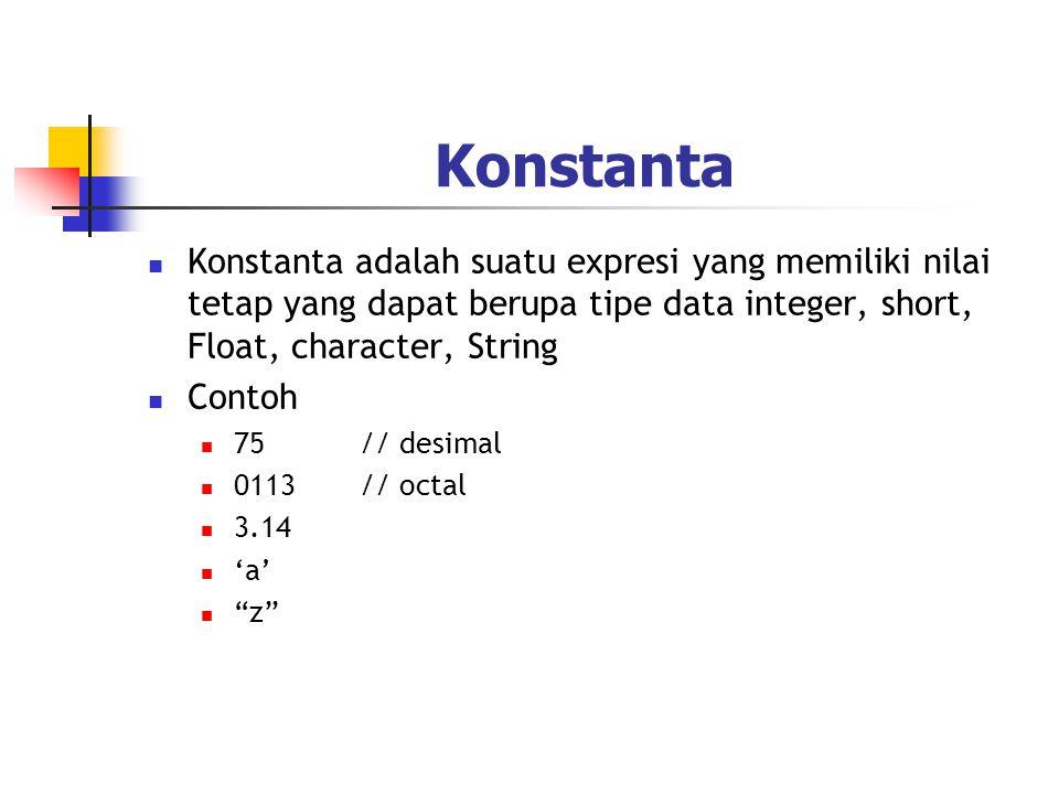 Konstanta Konstanta adalah suatu expresi yang memiliki nilai tetap yang dapat berupa tipe data integer, short, Float, character, String.