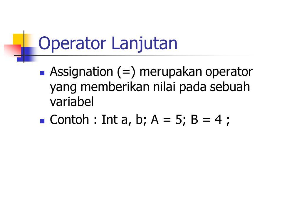 Operator Lanjutan Assignation (=) merupakan operator yang memberikan nilai pada sebuah variabel.