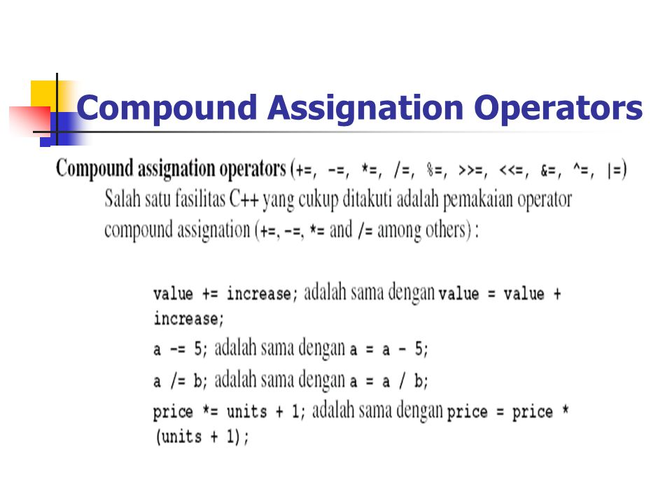 Compound Assignation Operators
