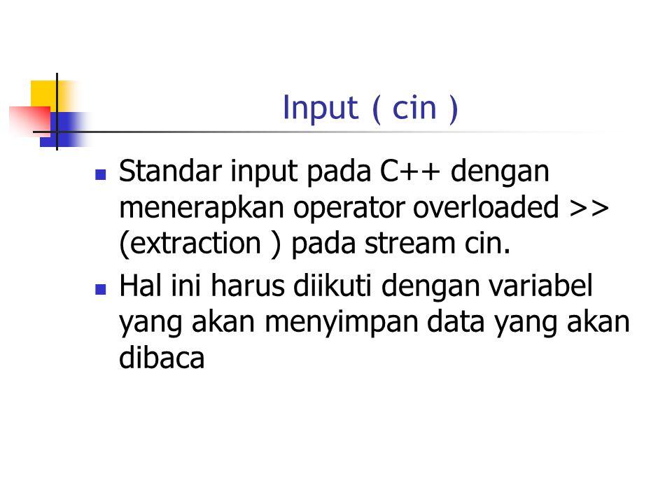 Input ( cin ) Standar input pada C++ dengan menerapkan operator overloaded >> (extraction ) pada stream cin.