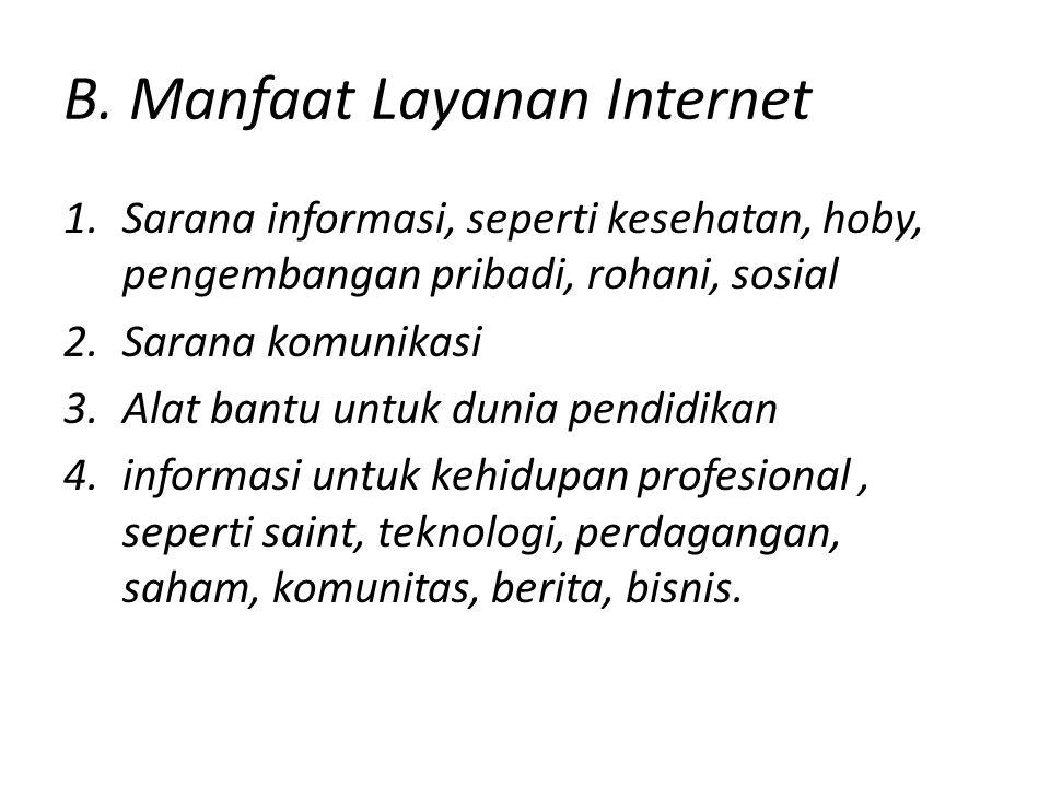 B. Manfaat Layanan Internet