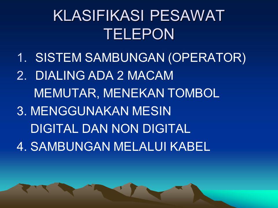 KLASIFIKASI PESAWAT TELEPON
