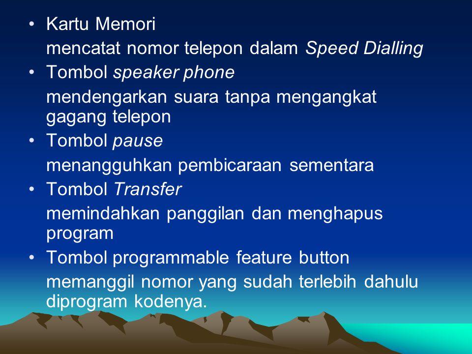 Kartu Memori mencatat nomor telepon dalam Speed Dialling. Tombol speaker phone. mendengarkan suara tanpa mengangkat gagang telepon.