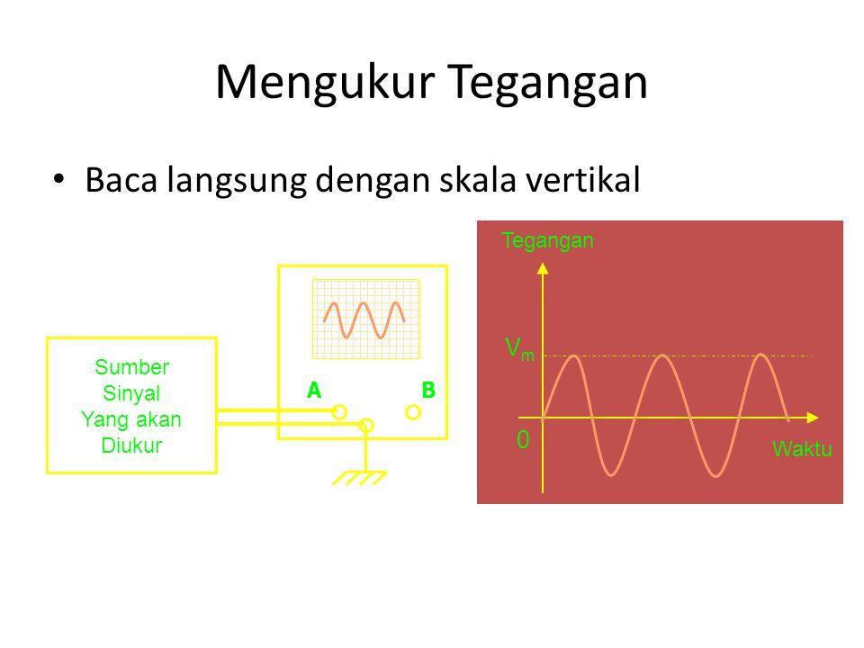 Mengukur Tegangan Baca langsung dengan skala vertikal Vm Tegangan