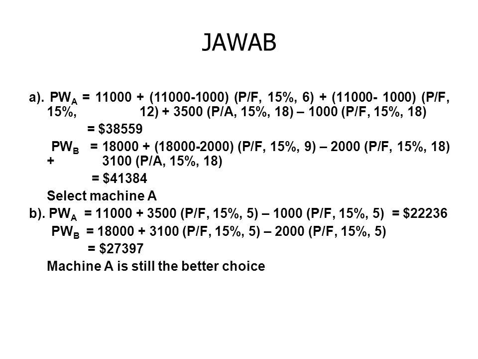 JAWAB a). PWA = 11000 + (11000-1000) (P/F, 15%, 6) + (11000- 1000) (P/F, 15%, 12) + 3500 (P/A, 15%, 18) – 1000 (P/F, 15%, 18)