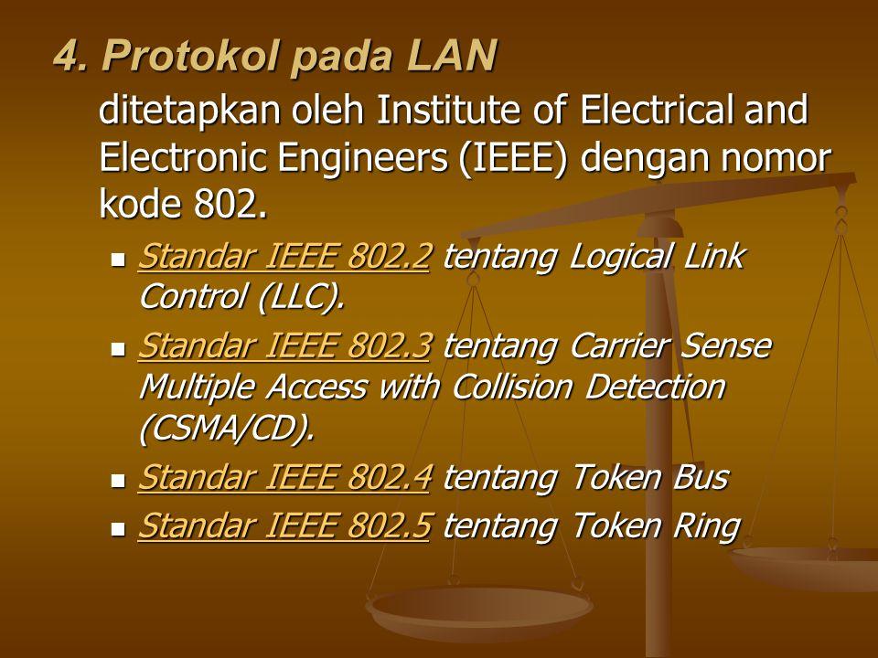 4. Protokol pada LAN ditetapkan oleh Institute of Electrical and Electronic Engineers (IEEE) dengan nomor kode 802.
