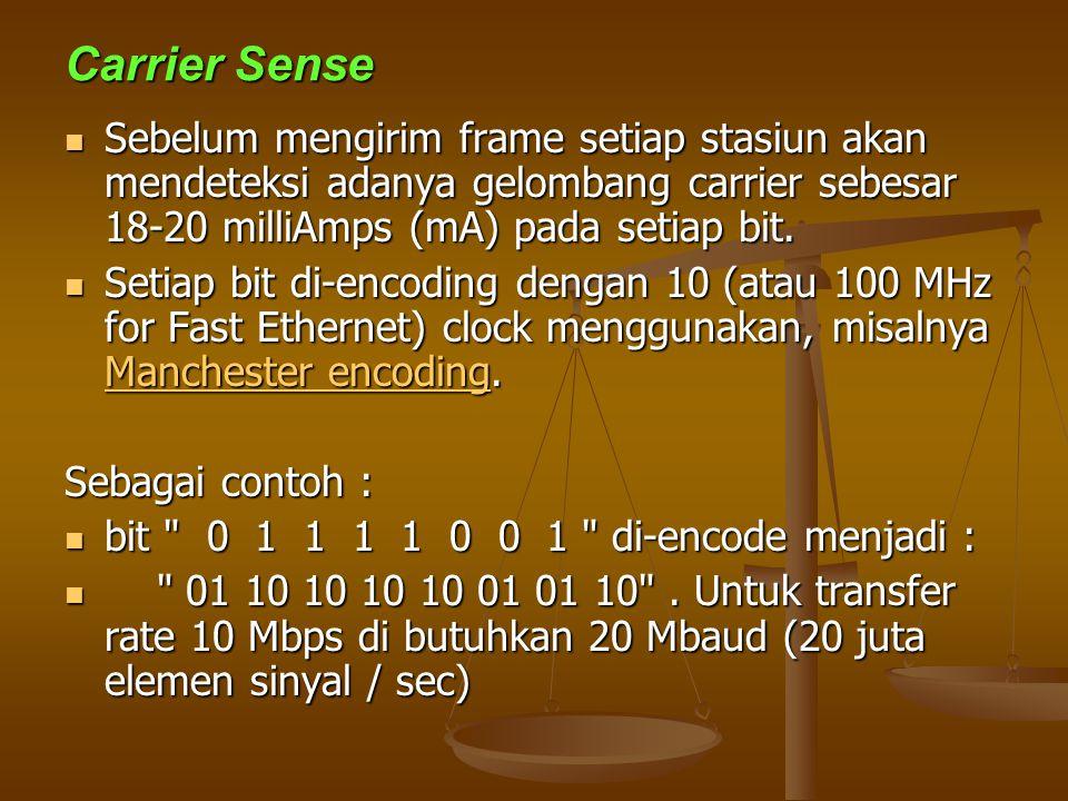 Carrier Sense Sebelum mengirim frame setiap stasiun akan mendeteksi adanya gelombang carrier sebesar 18-20 milliAmps (mA) pada setiap bit.