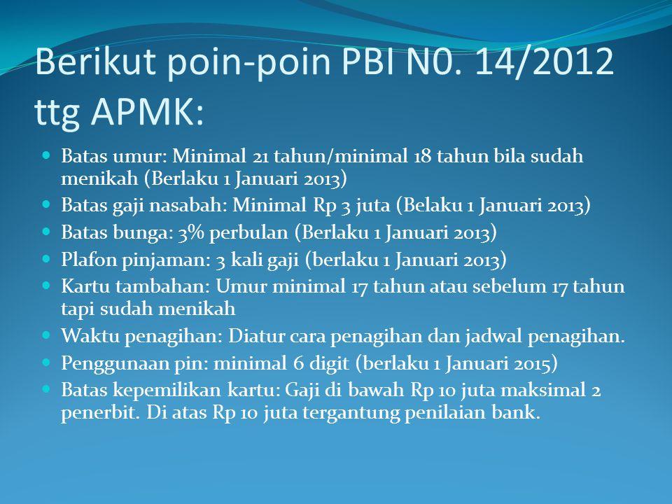 Berikut poin-poin PBI N0. 14/2012 ttg APMK: