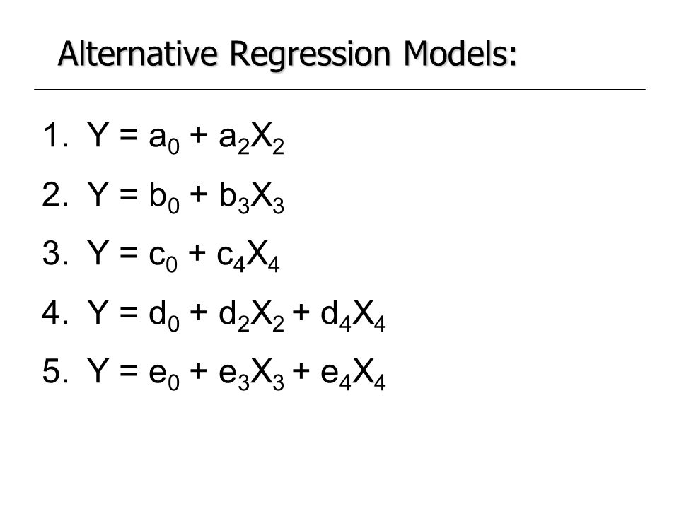 Alternative Regression Models:
