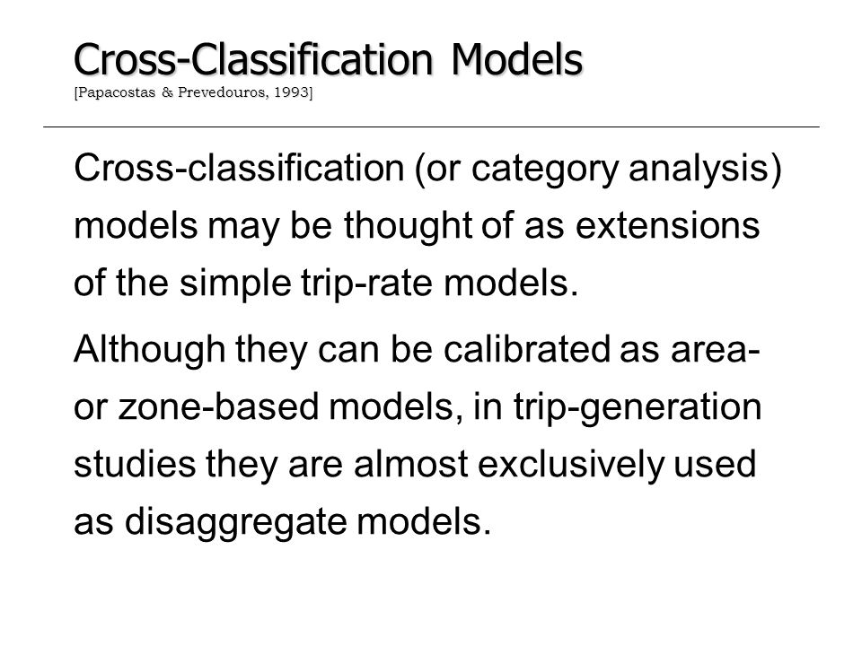 Cross-Classification Models