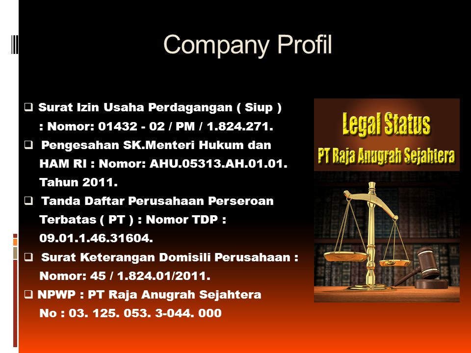 Company Profil Surat Izin Usaha Perdagangan ( Siup )