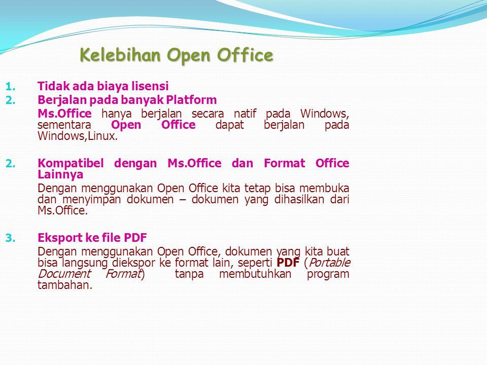 Kelebihan Open Office Tidak ada biaya lisensi