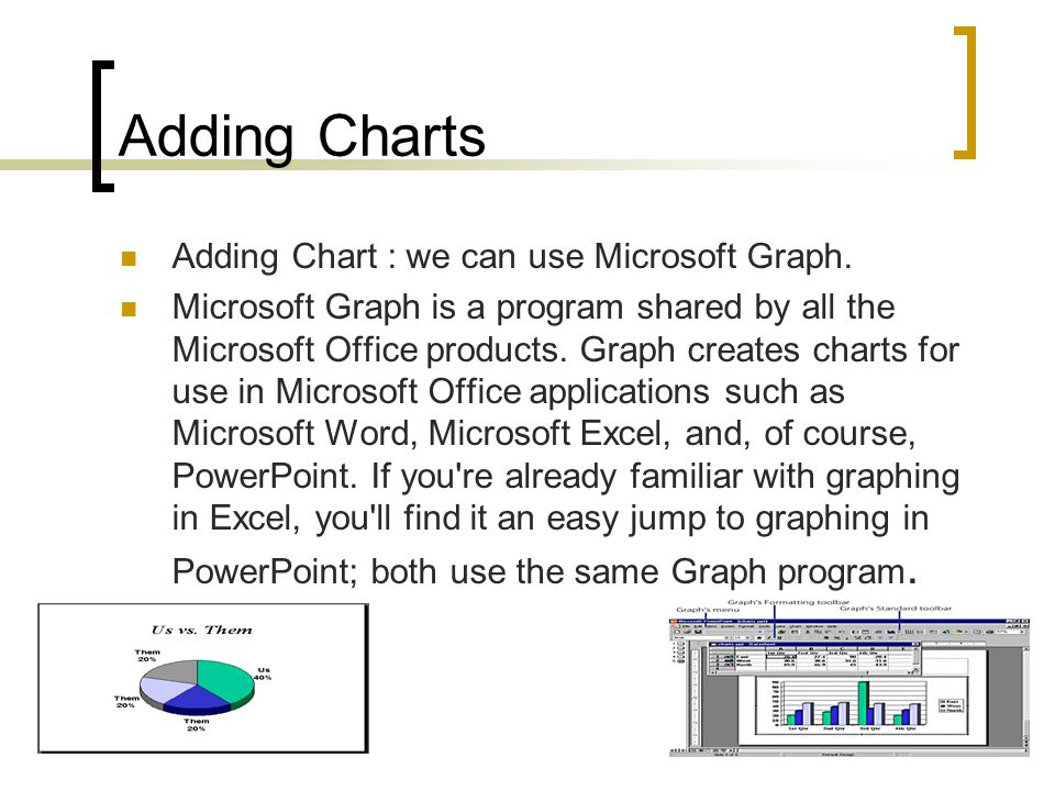 Adding Charts Adding Chart : we can use Microsoft Graph.