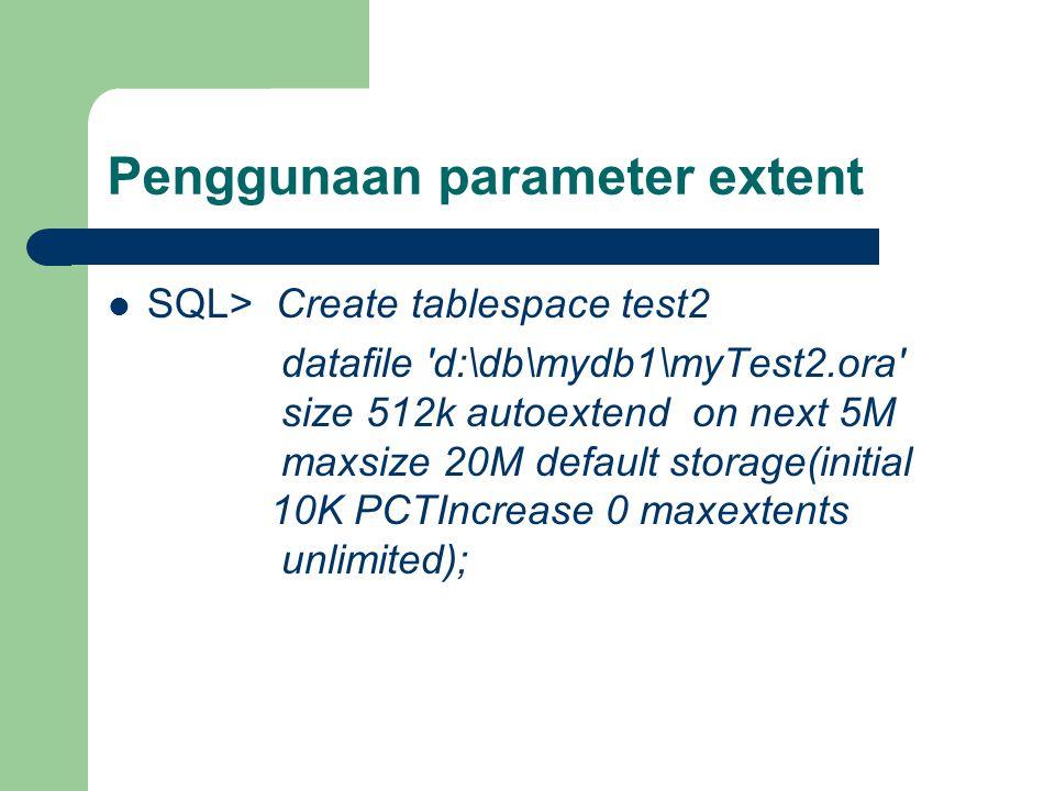 Penggunaan parameter extent