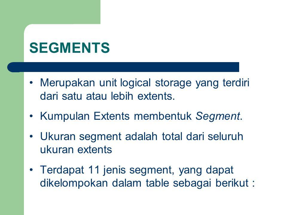 SEGMENTS Merupakan unit logical storage yang terdiri dari satu atau lebih extents. Kumpulan Extents membentuk Segment.