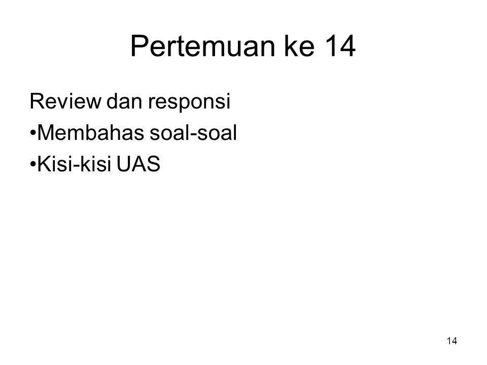 Pertemuan ke 14 Review dan responsi Membahas soal-soal Kisi-kisi UAS