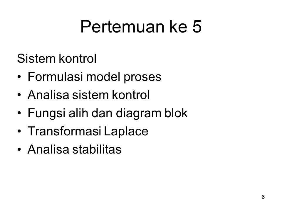 Pertemuan ke 5 Sistem kontrol Formulasi model proses