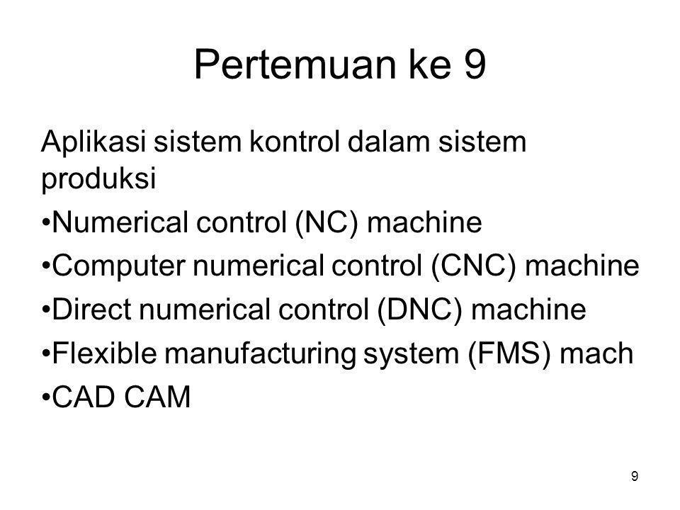 Pertemuan ke 9 Aplikasi sistem kontrol dalam sistem produksi