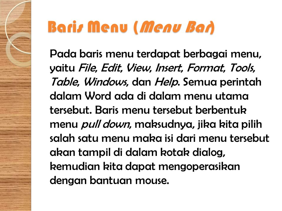 Baris Menu (Menu Bar)