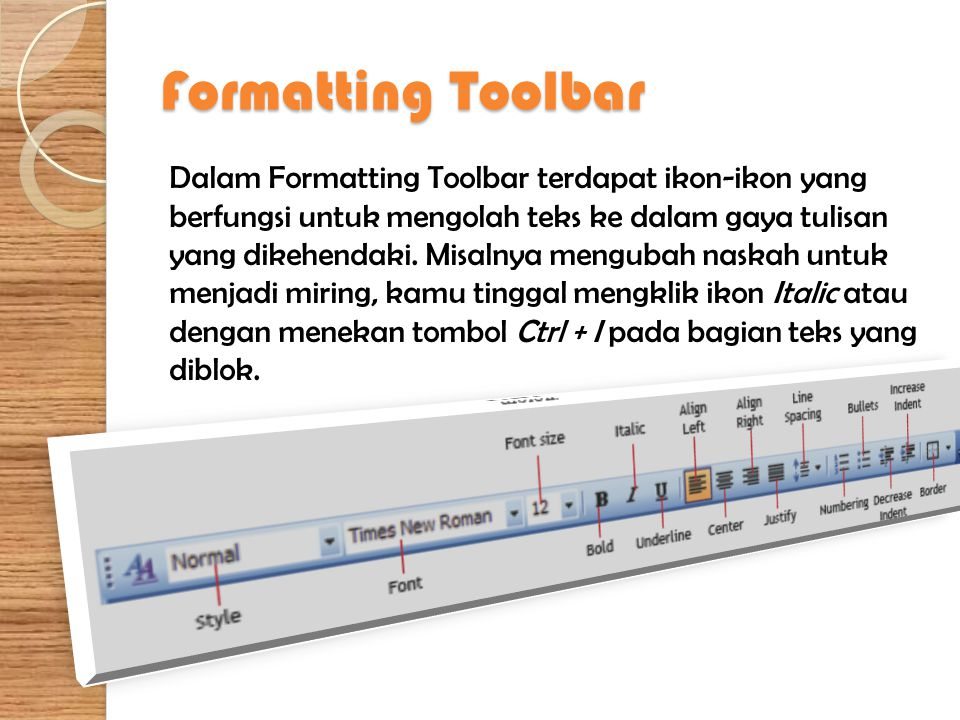 Formatting Toolbar
