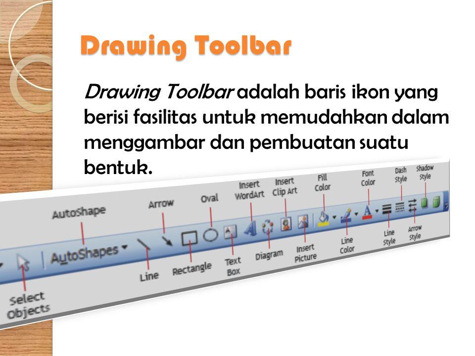 Drawing Toolbar Drawing Toolbar adalah baris ikon yang berisi fasilitas untuk memudahkan dalam menggambar dan pembuatan suatu bentuk.