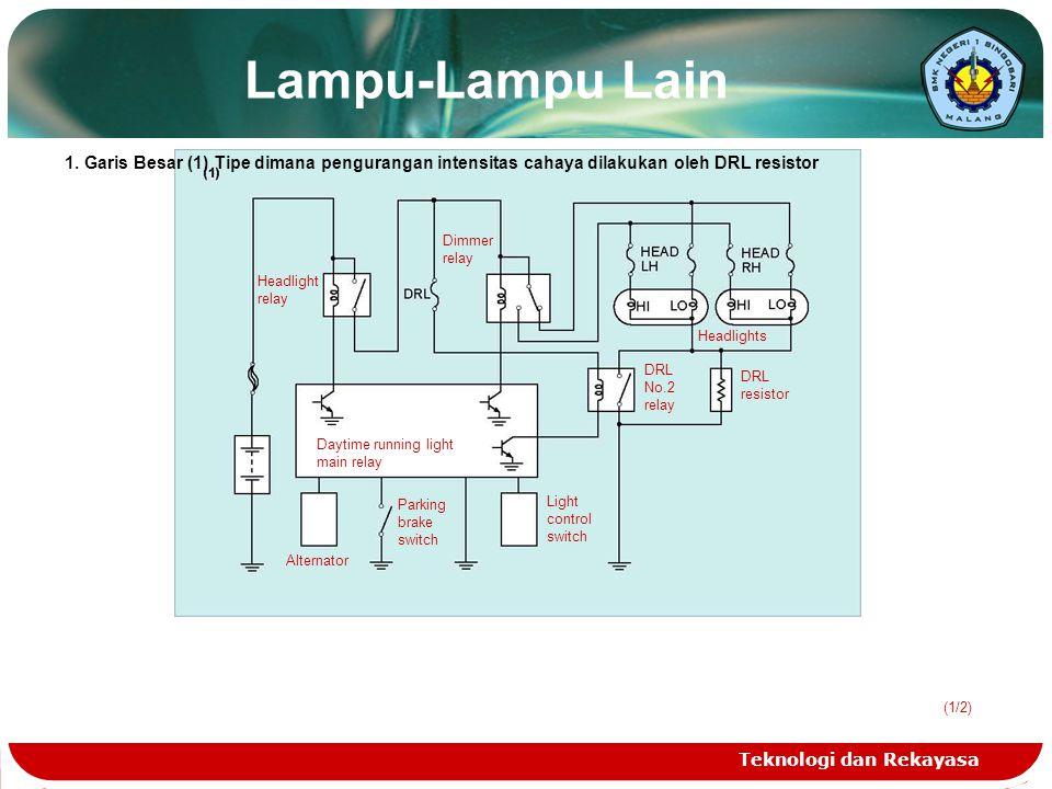 Lampu-Lampu Lain 1. Garis Besar (1) Tipe dimana pengurangan intensitas cahaya dilakukan oleh DRL resistor.