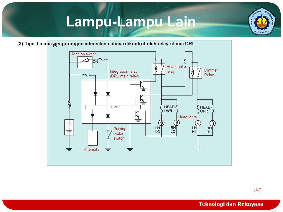 Lampu-Lampu Lain (3) Tipe dimana pengurangan intensitas cahaya dikontrol oleh relay utama DRL. Ignition switch.