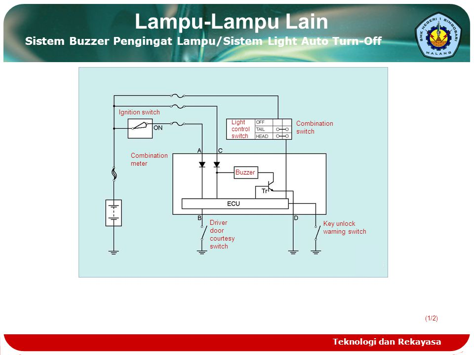 Lampu-Lampu Lain Sistem Buzzer Pengingat Lampu/Sistem Light Auto Turn-Off. Ignition switch. Light.